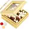 Golden Small Nutties Box with Pearl Rakhi